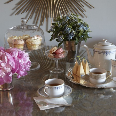Fortuny Table Cloth Magnolia Cupcakes Styled